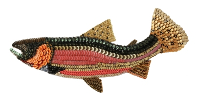 """Big Sky: CUTTHROAT TROUT. These fish evoIved over time what I call Norman Maclean territory, the isolated rugged mountainous areas of Montana. Their toughness is clearly worn in crimson on their mandibles. All the stand-alone individualistic traits of these fish are in his book's characters. Boldly or sublimely they are scholarly and profound in their fights for survival and I think intellectually spiritual. I really enjoyed his letters, especially to Nick Lyons, whom I saw doing a reading of the re-issue of his 1977 book Bright Rivers. That night lying in bed waiting on sleep, I put myself at a dinner party listening to these two fishers trying to top each other's stories of misadventures on the water. But I just can't seem to remember any of what was said. (37"""" W x 16"""" H – 5 lbs.)"""