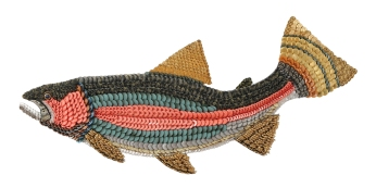 """Tricky Magicians: the RAINBOW TROUT. Elusive, desired and much sought-after, the rainbow trout has made fools of many. In the water rising or passing by in the shallow water into the sun's rays, we are treated to splashes of colors we'll not soon forget. Great writers like Nick Lyons and Norman Maclean put us in waders and waters pursuing these fish in comic/tragic adventures. Dedicated fish artists like Flick Ford and Joseph Tomerelli show us why our love affairs with these different elusive iconic fish endure. (46"""" W x 19"""" H – 16 lbs.)"""
