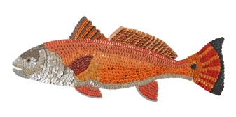 """Riley: the RED DRUM FISH. Redfish are found in Florida waters and up the East Coast but mainly in the Gulf of Mexico. They're called spot-tail, channel bass, rat reds and bull reds and are feisty fighters. They prefer estuaries but move with the tides, with their downturned jaw they root and dig for crabs """"tailing."""" Usually one or more black spots are near or on their tails. During spawning season they can produce a drumming sound for which they're named. Riley was a drummer from around Biloxi. (42"""" W x 18"""" H – 7 lbs.)"""