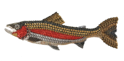 """Sam the Meat Man: the STEELHEAD. Also known as Steelhead Trout, the difference is that the mature fish that migrate to the ocean are steelheads and those that stay behind in fresh water are called rainbow trout. Also the steelhead can return to its natal stream and spawn more than once. The steelhead is longer and more streamlined than the rainbow trout and I respect enormously today's steelheaders and their fighting efforts to protect these fish and their waters. (44"""" W x 16"""" H – 8 lbs.)"""