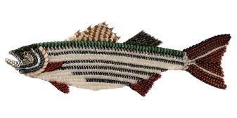 """Hudson: the STRIPER. Once on a Hudson River pier I saw a youngster catch this fish on a minus low tide afternoon. He was very overwhelmed by the event and not prepared to handle his good luck. A concerned fisherman fishing near the boy put down his pole and leaned way over the pier and netted the fish. The man wrapped the fish up in newspaper and put it in a bag for the excited boy who headed home with dinner. This is how I remember Hudson, the surprised boy and that nice fisherman. (47"""" W x 17″ H – 10 lbs.)"""