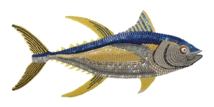 """Cal: the YELLOWFIN TUNA. Like so many other species of beautifully colored fish, when you see them come out of the water, they dazzle wearing Mother Nature's finest. Also known as AHI, this fish is sought worldwide for Asian and U.S. dining. They're predators and prey but powerfully built and like being in schools. I tried for power, movement and personality since they are sight driven. Beautiful he is. (50"""" W x 22"""" H – 13 lbs.)"""